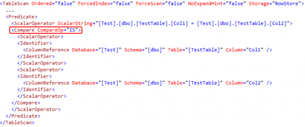 XML Execution Plan Fragment - EXISTS+INTERSECT Query