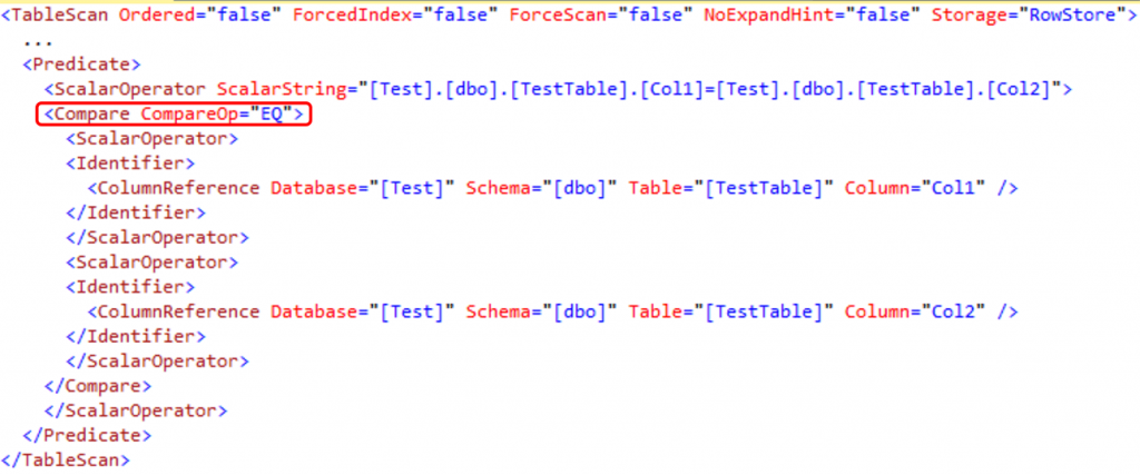 XML Execution Plan Fragment - Single Condition WHERE Clause Query