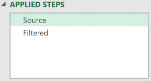 Applied Steps list showing first step selected