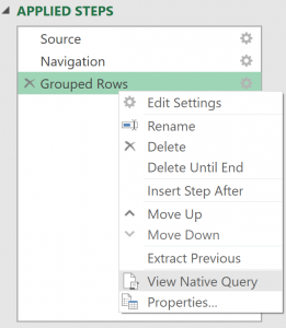 Right-click menu showing View Native Query menu item