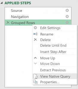 Right-click menu showing View Native Query menu item