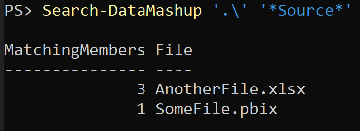 Output of Search-DataMashup '.\' '*Source*'