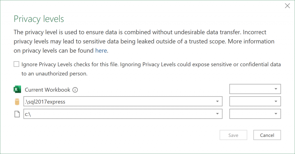 Microsoft Excel's Privacy Levels dialog