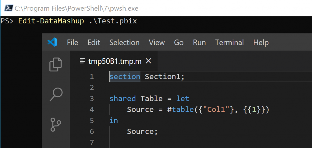 Screenshot showing VSCode being used to edit Power Query from a report file