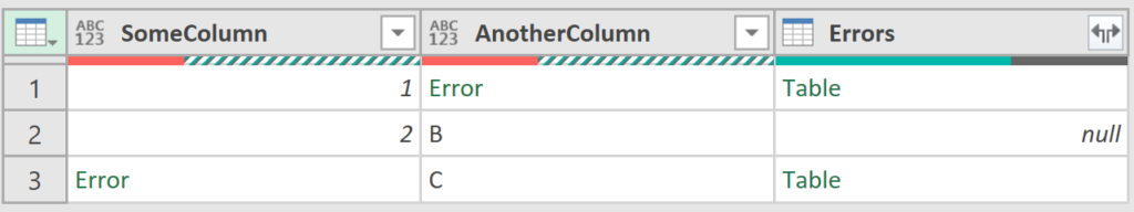 Screenshot of table with error details column added