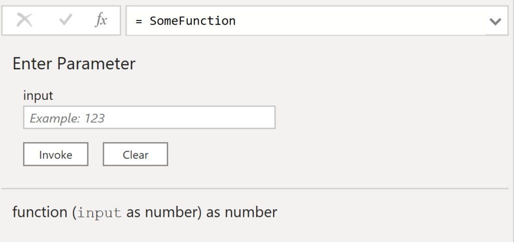 Query Editor's auto-generated documentation for a single argument function