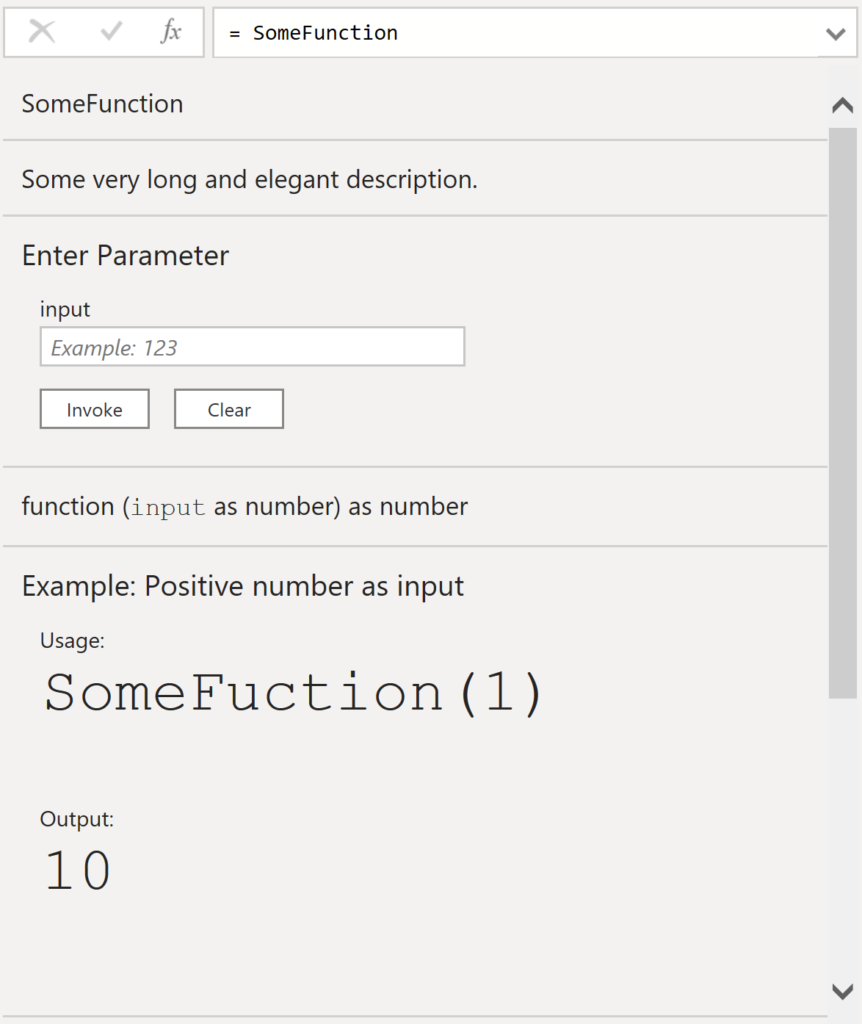 Query Editor's function documentation display generated from metadata