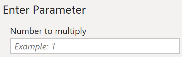 Parameter input prompt in Query Editor reflecting documentation metadata
