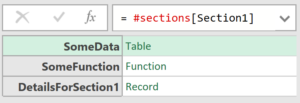 Screenshot showing the result of #sections[Section1]: a record with one field per Section1 section member