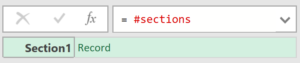 Screenshot showing #sections having returned a record containing a single field: Section1