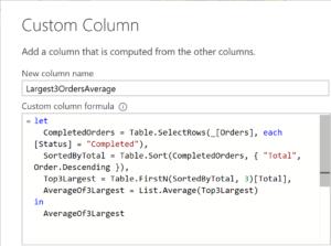 "Screenshot of following code example inside Query Editor's ""Add Column"" dialog"